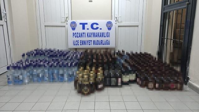 Adana'da 615 şişe sahte içki ele geçirildi