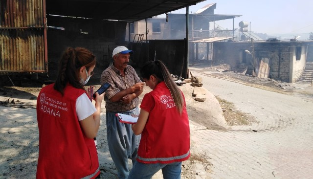 Yangında zarar görenlere psiko-sosyal ve ekonomik destek